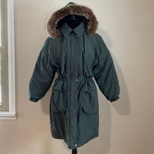 London fog green puffer faux fur trim coat